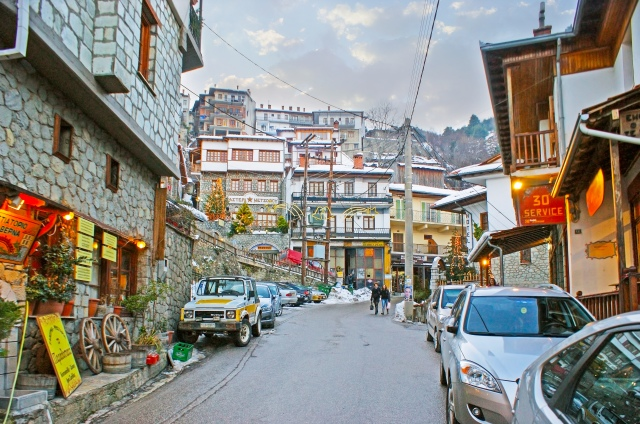Hilly streets of Metsovo, Greece