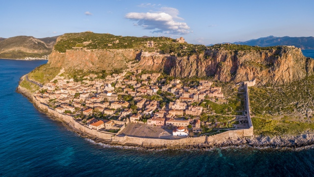 Aerial view of the ancient hillside town of Monemvasia located i